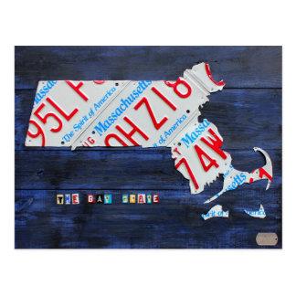 マサチューセッツナンバープレートの地図の郵便はがき ポストカード