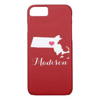 マサチューセッツハートのあずき色のカスタムのモノグラム iPhone 8/7ケース