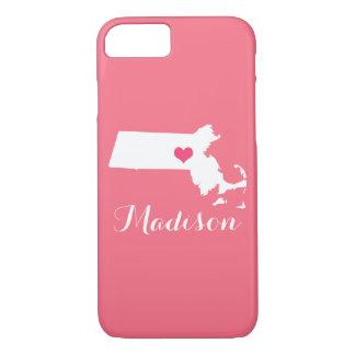 マサチューセッツハートのピンクのカスタムのモノグラム iPhone 8/7ケース