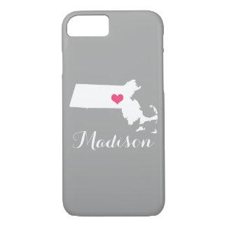 マサチューセッツハートの灰色のカスタムなモノグラム iPhone 8/7ケース
