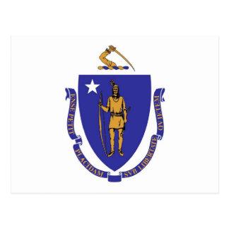 マサチューセッツ州米国の旗が付いている郵便はがき ポストカード