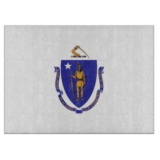 マサチューセッツ米国の旗を持つガラスまな板 カッティングボード