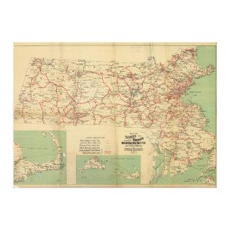 マサチューセッツ1913年の通り鉄道の地図 キャンバスプリント