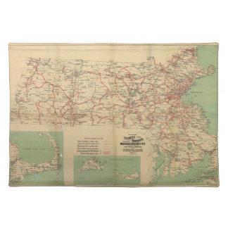 マサチューセッツ1913年の通り鉄道の地図 ランチョンマット