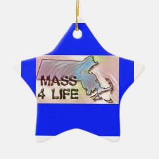 """""""マサチューセッツ4生命""""州の地図のプライドのデザイン セラミックオーナメント"""