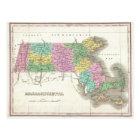マサチューセッツ(1827年)のヴィンテージの地図 ポストカード