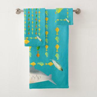 マスおよび友人の魚パターン バスタオルセット