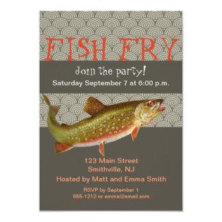 マスの魚のパーティの招待状のカスタマイズ可能なテンプレート カード