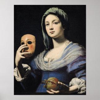 マスクを持つ女性 ポスター