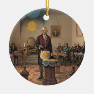 マスターの石大工としてジョージ・ワシントン大統領 セラミックオーナメント