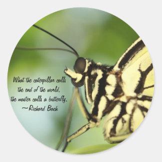 マスターの蝶写真および引用文 ラウンドシール