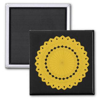 マスタードの黄色い円形のグラフィック マグネット