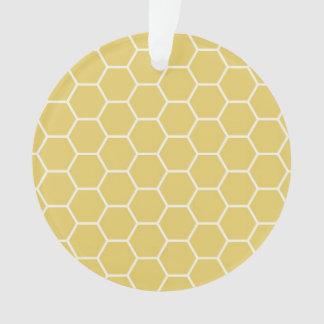 マスタードの黄色く幾何学的な蜜蜂の巣の六角形パターン オーナメント