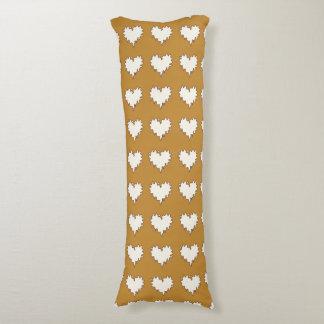 マスタードの黄色の抱き枕の巻き毛のハートの白 ボディピロー