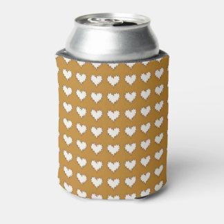 マスタードビール袖の巻き毛のハートの白 缶クーラー