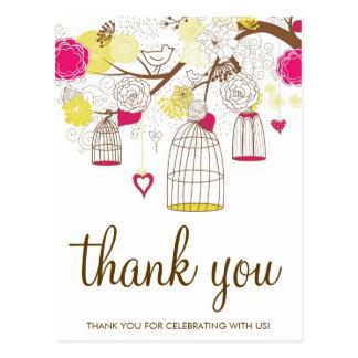 マゼンタおよび黄色の鳥かごは郵便はがき感謝していしています ポストカード
