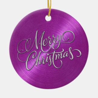 マゼンタのシーンおよび銀製のメリークリスマス 陶器製丸型オーナメント