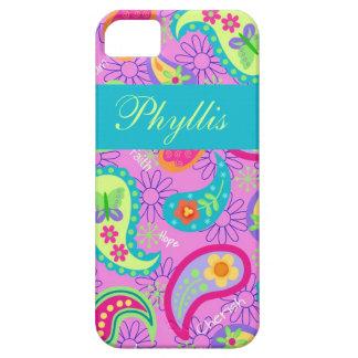 マゼンタのピンクのターコイズのモダンなペイズリーパターン Case-Mate iPhone 5 ケース