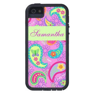 マゼンタのピンクの緑のモダンなペイズリーのグラフィックパターン iPhone SE/5/5s ケース