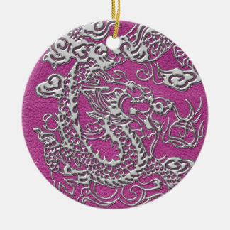 マゼンタのピンクの革質の銀製のドラゴン 陶器製丸型オーナメント