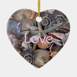 マゼンタの海の宝石の貝殻の宝物 セラミックオーナメント