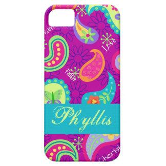 マゼンタの紫色のモダンなペイズリーの風変わりなパターン iPhone 5 ベアリーゼアケース