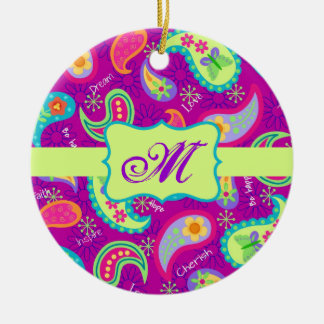 マゼンタの紫色の緑のモダンなペイズリーのモノグラム セラミックオーナメント