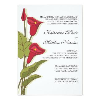 マゼンタの結婚式招待状のエレガントなオランダカイウユリ カード