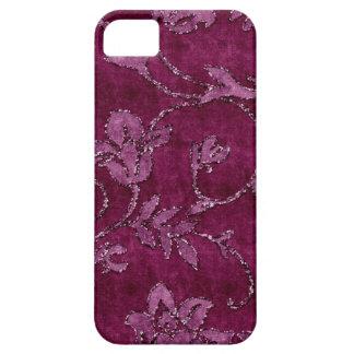 マゼンタの花のスパンコールのグリッターのビロードの一見の箱 iPhone SE/5/5s ケース