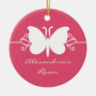 マゼンタの蝶はオーナメントドア・ハンガーの渦巻きます 陶器製丸型オーナメント