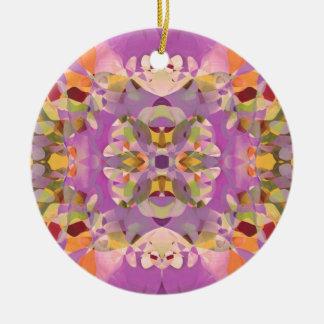 マゼンタの蝶花 陶器製丸型オーナメント