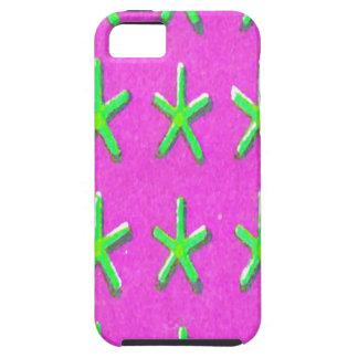 マゼンタのiPhone 5の箱の緑の星 iPhone 5 ケース