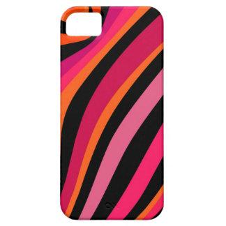 マゼンタ、オレンジ、ピンクおよび黒いストライブ柄 iPhone 5 ベアリーゼアケース
