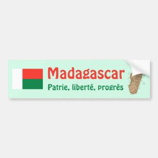 マダガスカルの旗 + 地図のバンパーステッカー バンパーステッカー