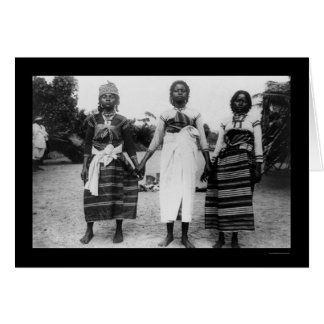 マダガスカル1910年からの3人の女の子 カード