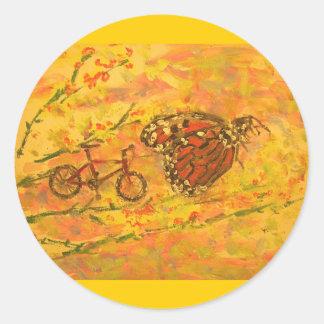 マダラチョウおよび自転車 ラウンドシール