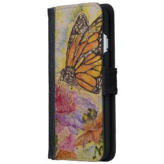 マダラチョウの水彩画の芸術のiPhoneの財布 iPhone 6/6s ウォレットケース