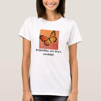 マダラチョウの神の紙吹雪のTシャツ Tシャツ