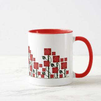 マッキントッシュの赤いバラ園のマグ マグカップ