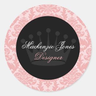 マッケンジーのピンク及び黒いダマスク織のシックな円形のステッカー ラウンドシール
