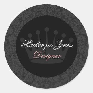 マッケンジーの黒いダマスク織のシックな円形のステッカー ラウンドシール