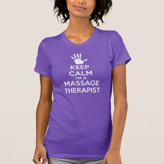 マッサージのTシャツ: 平静、マッサージセラピストを保って下さい Tシャツ