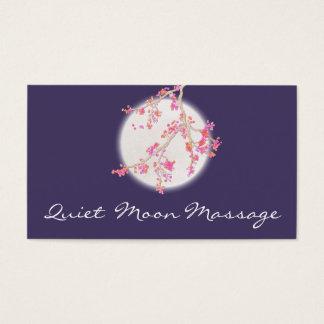 マッサージセラピストのスパのピンクの桜および月 名刺