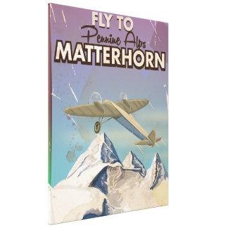 マッターホルンの苦土緑泥石のアルプスのヴィンテージ旅行ポスター キャンバスプリント