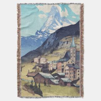 マッターホルンのZermattスイス連邦共和国のヴィンテージの芸術のプリント スローブランケット