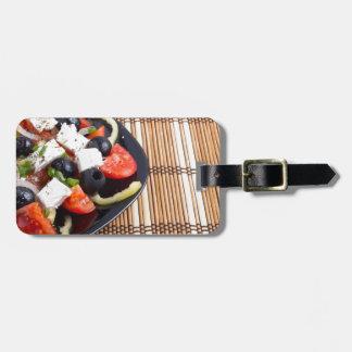マットのブラックプレートの新しい菜食主義サラダ ラゲッジタグ