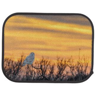 マット後部Snowyのフクロウの日没車 カーマット