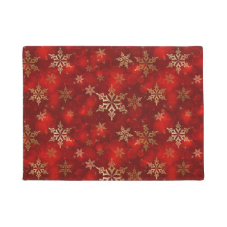 マット赤い休日のドア及び金ゴールドの雪片 ドアマット