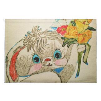 マット青い目のイースターのウサギの場所 ランチョンマット