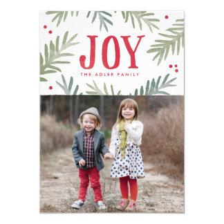 マツおよび果実の喜びの休日の写真カード カード